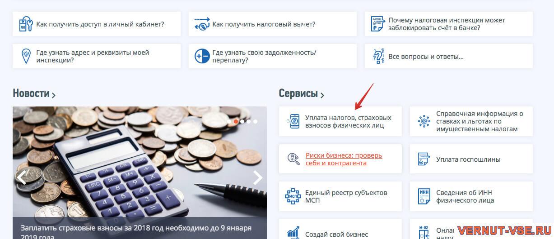 Страница оформления справки 2-НДФЛ насайте ФНС